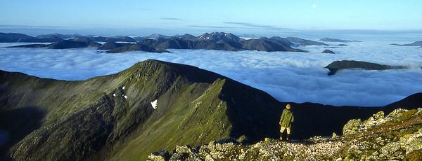 Glencoe peaks from Sgurr a'Mhaim.  5am, 16/06/84