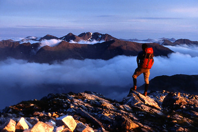 Glencoe peaks and ridges from Stob Ban, a fine inversion brewing.    10pm, 15/06/84