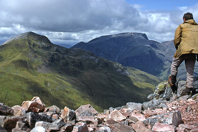 Sgurr a'Mhaim and Ben Nevis from am Bodach.  2pm, 14/06/85