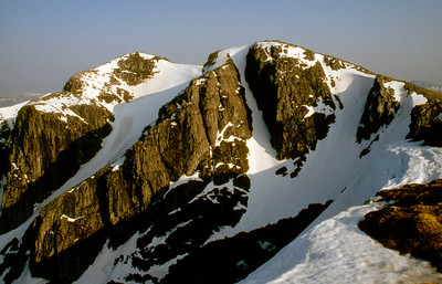 Bidean from Stob Coire nam Beith, Hourglass Gully (grade I) prominent.  5pm, 26/04/93