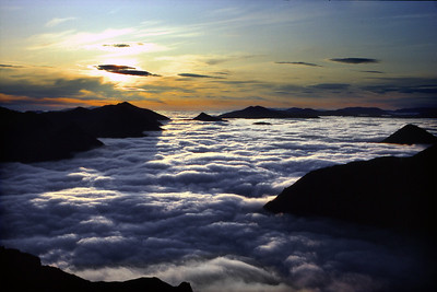 Sunrise over the Grey Corries, from Sgurr a'Mhaim.  4.30am, 16/06/84