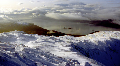 Loch Linnhe from the W end of Beinn a'Bheithir.  2pm, 27/11/82