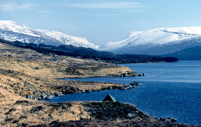 Loch Ossian and the Bealach Dubh.  mid-day, 05/04/80  ~ Easter Saturday, and the early train to Corrour. Blissful weather.   I pitched the Vango not far up the loch, across from the YH, and in the afternoon did the circuit of Lap - Chno - Sgriodain, with a weary plod back over the shoulder of Lap.   The thick dead grass made a wonderful mattress, and I slept like a lamb, woken only by the sharp cold of dawn. Loch Ossian was a flawless mirror - I've never seen a large body of water so still - until at sunrise a thin whisper of a breeze tickled the surface.  Leaving the tent standing empty, I went up the lochside to the Uisge Labhair path, tackling Ben Alder from the west and descending, a bit too steeply for comfort at times, to the south-east and the Bealach Breabag. Then Beinn Bheoil, and down to Benalder cottage.  The bothy occupants were sharply polarised into two camps, with clearly no love lost between them. The scenes the previous night were not too hard to imagine. I shacked up with the Cavaliers (mainly because there was more floor space in their room than in the Roundheads'), and, with most of the bevvy already consumed, had a very reasonable night.  The weather continued fair for the return over Gaibhre and Carn Dearg (I was in the throes of Munrobagging as you can see) to the tent, and back to Corrour for the evening train.
