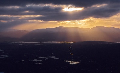 Winter sunrise over Rannoch Moor, from Beinn a'Chrulaiste.  8.15am, 14/11/87