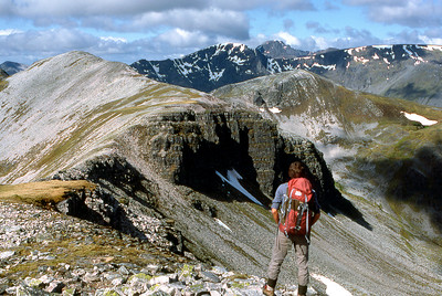 Looking west along the Grey Corries from Stob a'Choire Leith.  9am, 16/06/85
