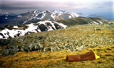On Chno Dearg, westwards over Sgriodain to the Easains.  8am, 02/05/99