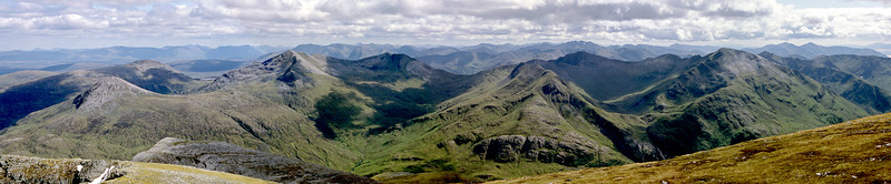Panorama southwards from Aonach Beag.  4pm, 16/06/85