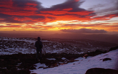 Dawn of the Millennium - sunrise from Mount Keen.  8.30am, 01/01/00
