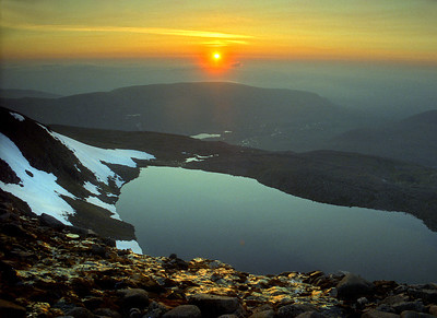 Sunset over Loch Coire an Lochain of Braeriach.  10pm, 24/06/95