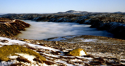 Mount Keen from the eastern slope of Broad Cairn.  11.30am, 28/12/92  ~ . . . looking over where Loch Muick should be.