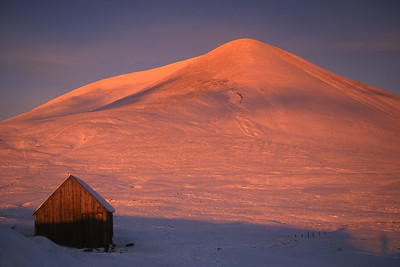 A rich alpenglow on Carn Liath of Beinn a'Ghlo.  3.30pm, 01/01/02