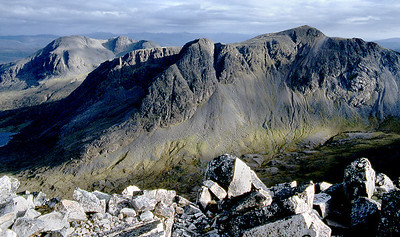 Sgorr Ruadh with Fuar Tholl beyond, from the west top  of Beinn Liath Mhor.  9pm, 06/06/85