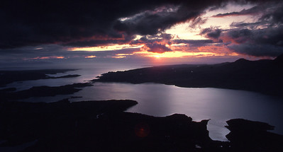 Sunset from Sgurr na Bana Mhoraire of Beinn Damh.  10.15pm, 05/06/85