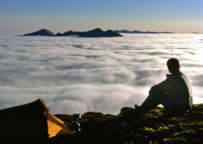 Morning on Suilven :-   Quinag, with the Foinaven range behind.  5am, 14/6/88