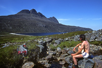 Taking a break between Canisp and Suilven.  10am, 7/6/84