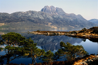 Slioch across Loch Maree.  2pm, 24/04/84  ~ OK, this view is one of the great pictorial cliches of the Highlands, but you can see with the blissful weather how tempting it was to take a tent up there.