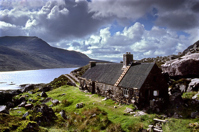 """In the Gairloch area.                                                    09/06/85  ~ Osgood Mackenzie, writing in A Hundred Years in the Highlands of his boyhood in the 1850s, mentions this place.  """"Sometimes we put up at the  - - - -   - - - - - -   bothy, but its roof in those days was very leaky, and there was little to be gained by being under its protection.""""   The roof has been fixed since then, I think. Traditionally the near end of the bothy has been left open, with the rest well locked, but I'm not sure of the current situation."""