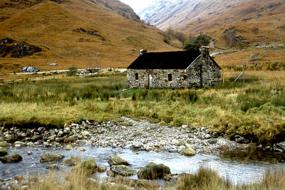In a western glen. The bothy with a 50p-in-the-slot leccy meter.  4.30pm, 26/10/80