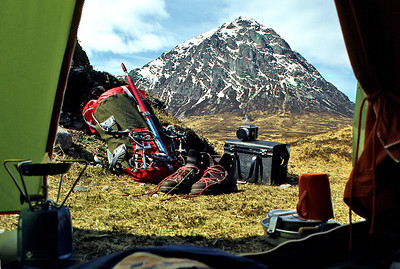 Stob Dearg from Glen Etive, a bit below Coupall Bridge.  3pm, 01/03/80  ~ Early days, in a Vango Force 10, and as if that wasn't heavy enough I often lugged about (on public transport) not one but two medium-format cameras, with several pounds of glass, in that huge rigid case. I soon learned.