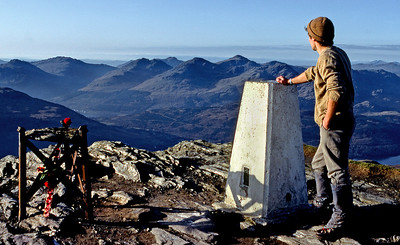Arrochar Alps from Ben Lomond.  10am, 14/11/83  ~ Contemplative moment, my 1st Munro completion. I had wanted to end the quest as it began (6/11/78), alone, on a November day borrowed from late summer.