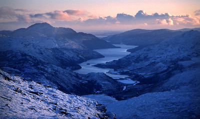 Winter dusk on Loch Lomond, from Beinn Dubhchraig.  3.45pm, 12/12/81