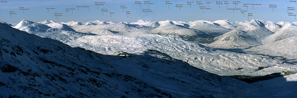 Chroin pano with summits identified (view at original size, 6600 x 2200 pixels).