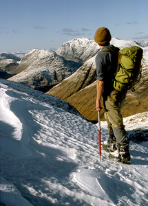 On the north ridge of Stob Coir' an Albannaich, looking NW towards the Bidean.  4pm, 17/03/85