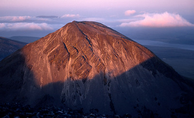 Early sun on Beinn a'Chaolais, from Beinn an Oir.  5.15am, 24/5/87