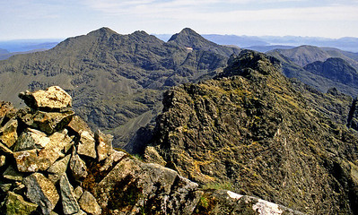 North-east from Sgurr a'Mhadaidh.  9.30am, 12/06/95  ~ Mhadaidh has four tops, the full traverse of which tests the boundary between scrambling and climbing. I have done it, but the south top was sufficient this time.