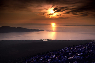 Sun setting over Oronsay, from Beinn an Oir.  9.30pm, 23/5/87