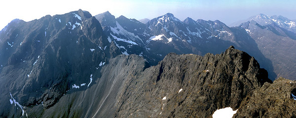 The Cuillin ridge from Sgurr Alasdair.  5pm, 19/4/82