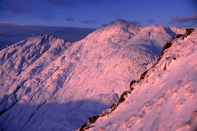 Stob Coire nan Cearc from the S ridge of Streap Comhlaidh.  9am, 5/1/86