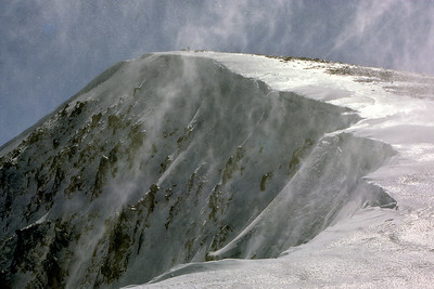 Satin and lace.   1pm, 21/4/85  ~ Spindrift blown upwards from the NE corrie of Sgurr nan Conbhairean.