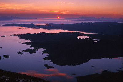 Sunset between Rum and Skye, from Rois-bheinn.  10pm, 22/07/00