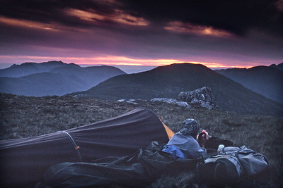 Bivvy on am Bathaich of Sgurr a'Mhaoraich.  11pm, 12/06/92  ~ K is tough and doesn't need a tent - just as long as she gets a nice cuppa . . .