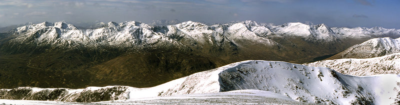SSW to W panorama from Sgurr nan Conbhairean.  12.30pm, 21/4/85
