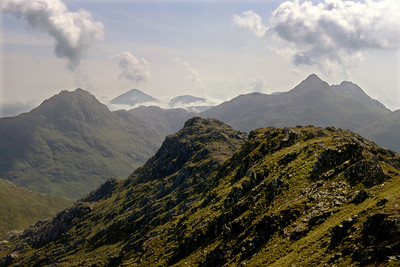 Knoydart volcanoes? Ben Aden, Sgurr Mor, and Sgurr na Ciche from Meall Buidhe.  11am, 9/6/82