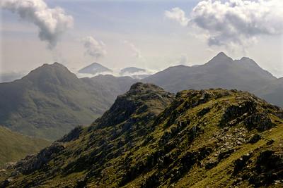 Knoydart volcanoes? Ben Aden, Sgurr Mor, and Sgurr na Ciche from Meall Buidhe.  11am, 9/6/82