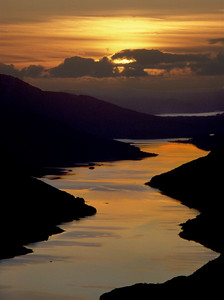 Winter sunset on Loch Shiel, from Beinn an Tuim.  3.30pm, 3/1/86