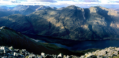 The Beinn Odhars from Sgorr Craobh a'Chaorainn.  2pm, 04/11/90  ~ I felt that Ghiubhsachain and his mates owed me one, after having given me an awful hammering in the radioactive rain of May 1986, and this crisp November day was payback time.  By bike from the A830 to Guesachan Cottage, and a fine clockwise circuit of the knobbly horseshoe.