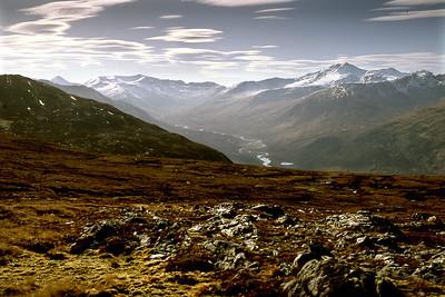 Upper Glen Affric, Beinn Fhada and Sgurr nan Ceathreamhnan, from Carn Glas Iochdarach.  4.30pm, 21/04/85