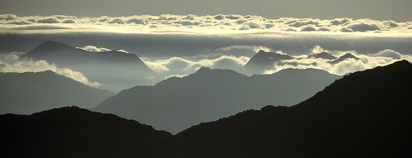 Sgurr Thuilm and the Streaps, from Rois-bheinn.  7am, 21/07/91