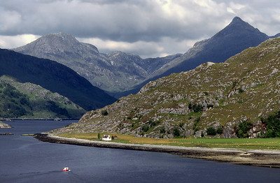 Loch Nevis at Kylesmorar, with Ben Aden and Sgurr na Ciche.  3pm, 15/6/87