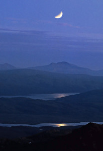 Ben More of Mull from Rois-bheinn, moonlight glinting on Lochs Shiel and Sunart.  midnight, 20-21/07/91