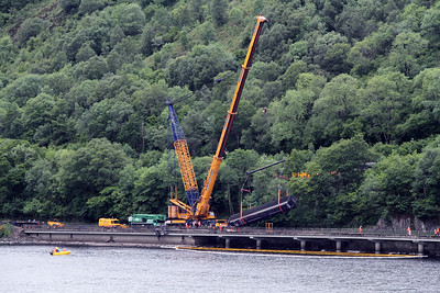 The derailed class 156 coach has been lifted clear at Loch Awe