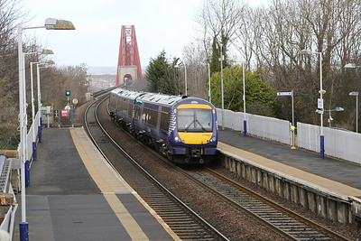 170403 comes off the Bridge at Dalmeny