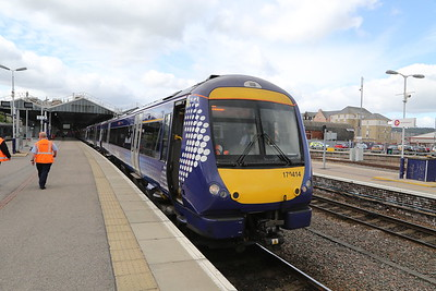 170414 supported by 158723 forms 1A50 1057 to Dyce for a bus to Aberdeen. New station at Forres will be a tick