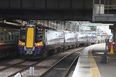 380108 in the mid road between 16 and 17 at Waverley - stabled as the 380 Thunderbird for the east of the country