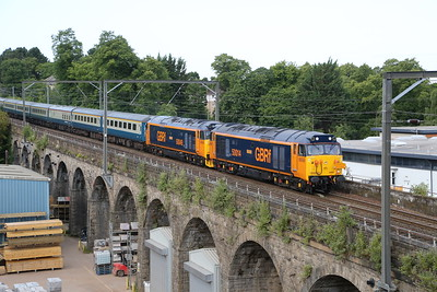 50007 (as 014) and 50049 at Slateford viaduct on a GBRf staff charter from Glasgow to Scarborough 6th July 2019