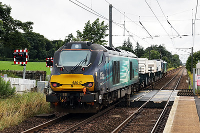 88002 leads 68017 through Kirknewton on 6M50 Torness - Carlisle mystery cargo 5th August 2018